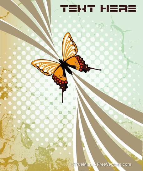 Vintage Texture Butterfly Background