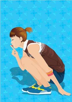 Beautiful sexy sporty girl vector 4