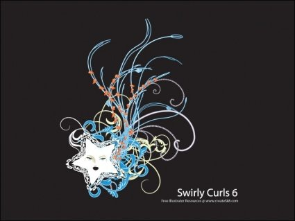 Swirly Curls 6 - Neon Star