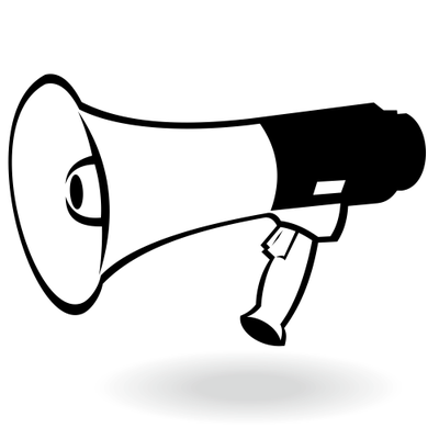 Flat Black & White Portable Megaphone