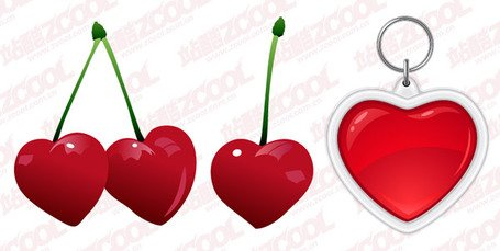 Heart-shaped vector material cherries and keychain