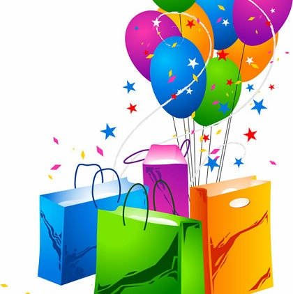 Festive Balloons and Shopping Bags