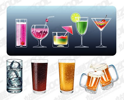 Vector material refreshing summer drinks