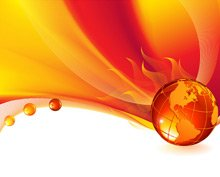 Burning globe on a abstract background