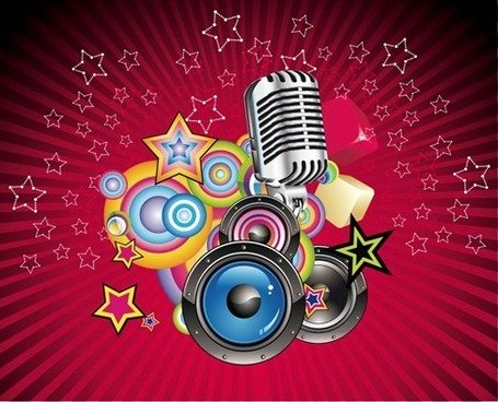Vector Music Background with Speaker and Microphone