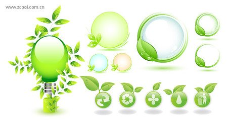 Green leaves green icon vector material subject
