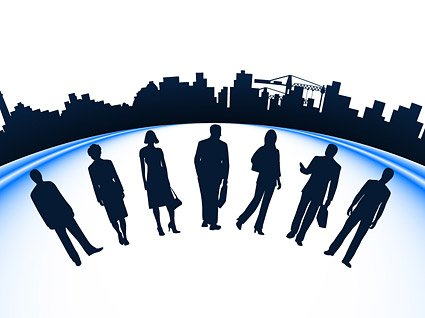 Business people and city silhouette vector construction mate
