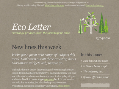 « Eco » Email Template PSD par Mike Kus