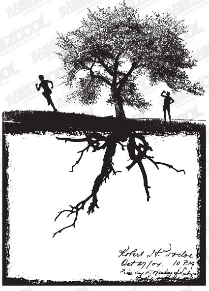 Stock Vector silhouette of trees and figures