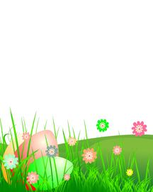 Easter Landscape with Grass & Flower