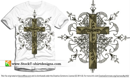 Gratis Vector Kruis T-shirt Design met florale Ornament