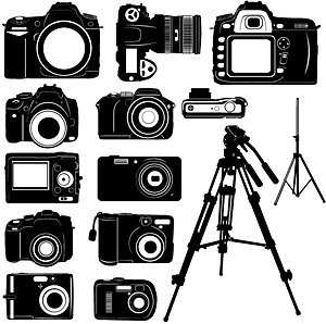 Free Black and white digital camera silhouette Clipart and ...