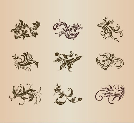 Set Vector d'éléments Vintage ornement Floral Design