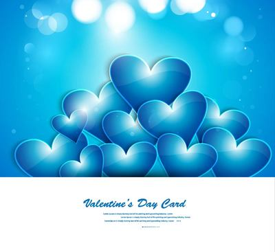 Blue Glowing Heart Valentine Day Card