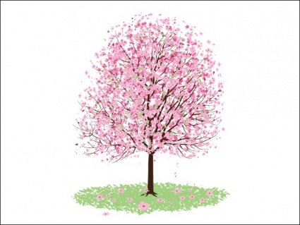 free pink cherry blossom tree clipart and vector graphics clipart me rh clipart me Pink Family Tree Clip Art Baby Chick Clip Art