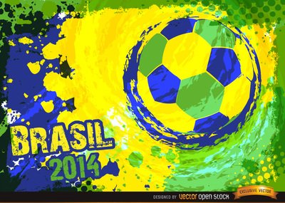 Brazil 2014 Blue green yellow football Background
