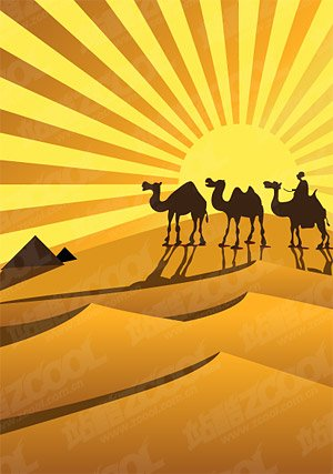 Golden Desert Camel Silhouette Vector Golden