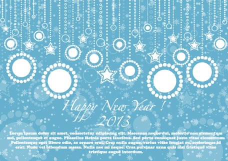 Happy New Year 2013 Blue Card