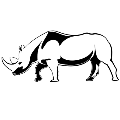 Line Art Black & White Rhino