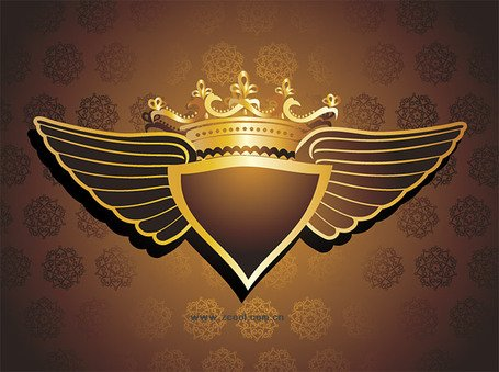 Crown wings pattern vector material Background