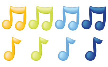 Vector notas musicales en Color