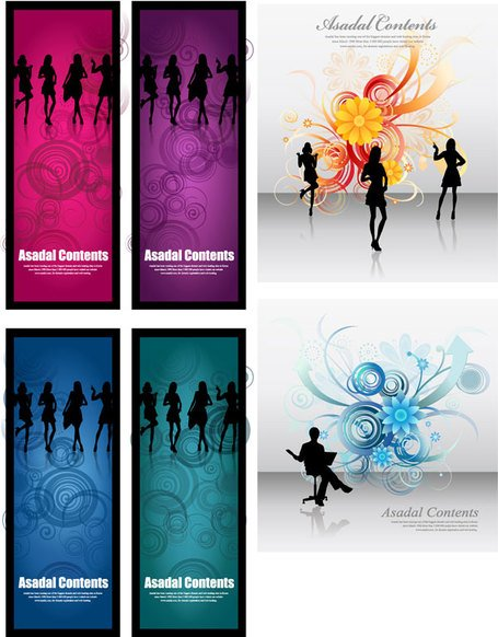 Female silhouette vector fashion flowers background material