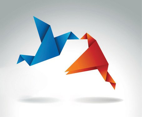 Kissing Origami Birds Vector Graphics Free