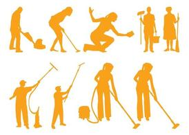 Cleaning People Silhouettes