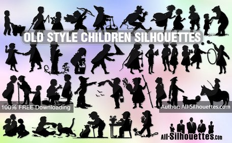 28 Old style children silhouettes
