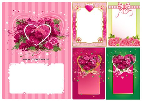 4 Heart-shaped vector material rose decoration border