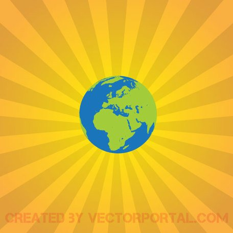 Earth on Sunburst Background
