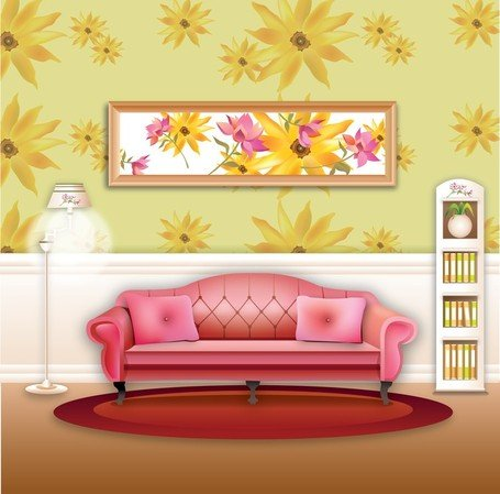 Vector stylish wallpaper home living room sofa vectors for Stylish wallpaper for home