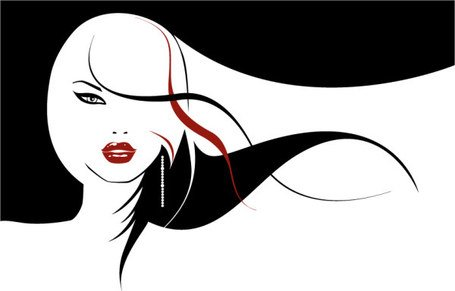 Vector girl with long hair flowing material