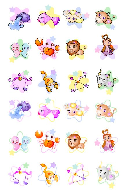 South Korea 12 Constellation cartoon icon