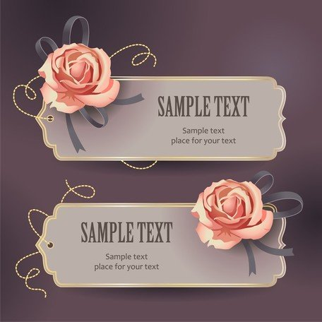 Vintage Rose kort Text mall Vector 3