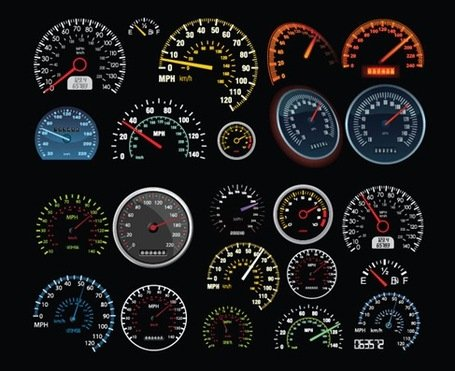 Set of Vector Speedometer and Counter