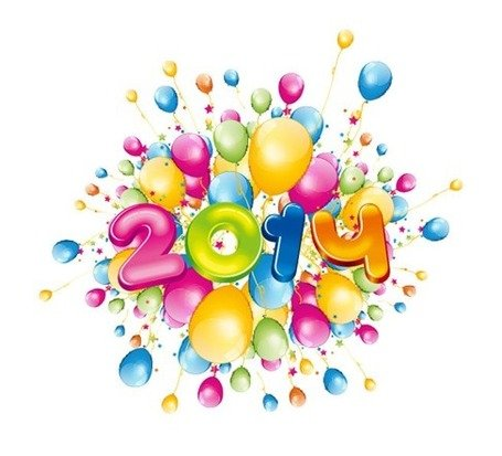 Happy 2014 New Year with Colorful Balloons
