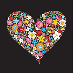 Composed of colorful flowers, heart-shaped