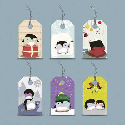 Funky Seasonal Penguin Price Tag Set