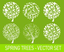 Primaverili alberi vector set