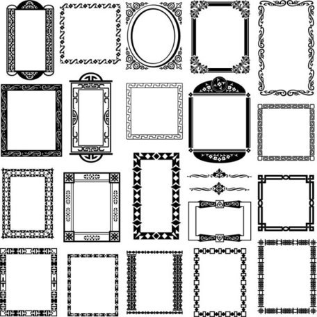 Black And White Border Corner Patterns 01 - Vector Black And White Borders Corners