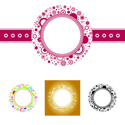 Elliptical Floral Frame Template