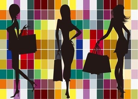 Fashion Shopping Girl Silhouettes with Colorful Background