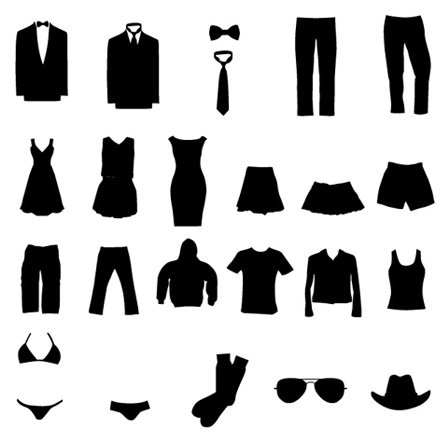 Free Vector Graphic Set: Clothing Silhouettes