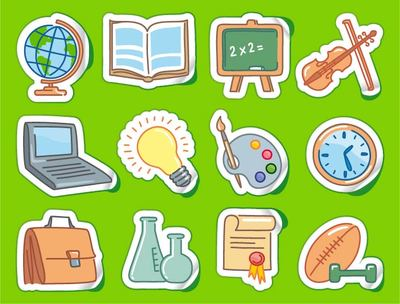 Sticker met Funky School thema Icon Set