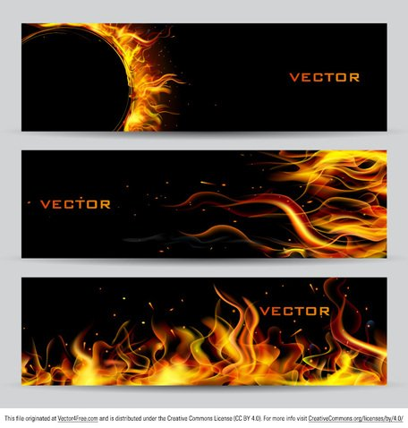 Feuer-Banner-Vector-Set