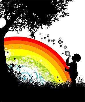 People, trees, flowers, silhouette and rainbow vector materi