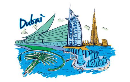 Vettore Dubai illustrazione Panorama City Skyline