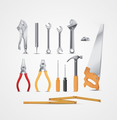 Tool Vectors: Wrench, Pliers, Hammer, Screwdriver, Saw Clip Art ...