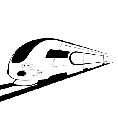 Abstract Black Sketch & White Bullet Train